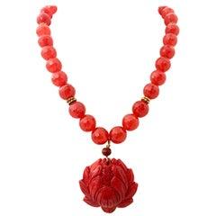 20th Century Art Glass Bead & Carved Carnelian Pendant Necklace