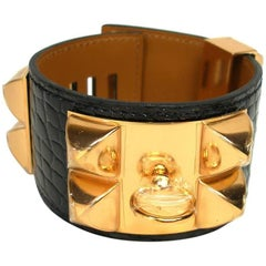 Hermès Bracelet CDC Collier de Chien Alligator Black Gold Hardware / Brand New