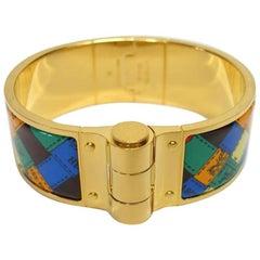 Hermès Bracelet Charniére Bolduc Au Carré Rose Gold Plated Hardware