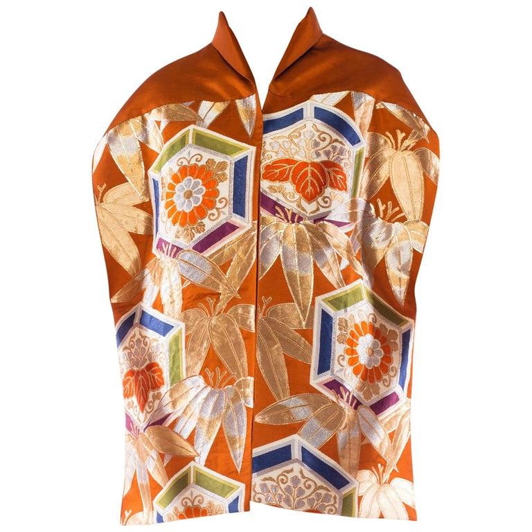 Japanese Metallic Obi Silk Kimono Coat