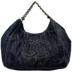 Chanel Denim Jumbo XL Coco Cabas Shoulder Tote Overnighter Bag