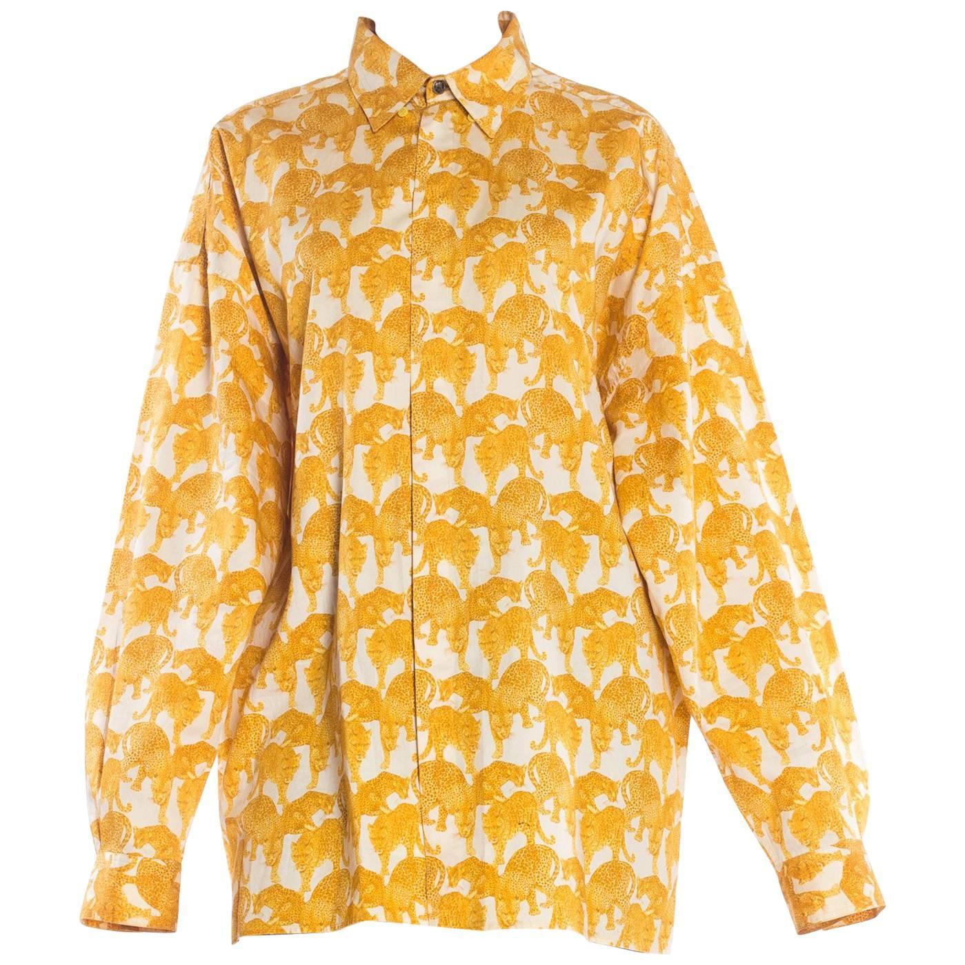 106fcda42 Gianni Versace Couture Barocco Crucifix Silk Print Mens Shirt For Sale at  1stdibs