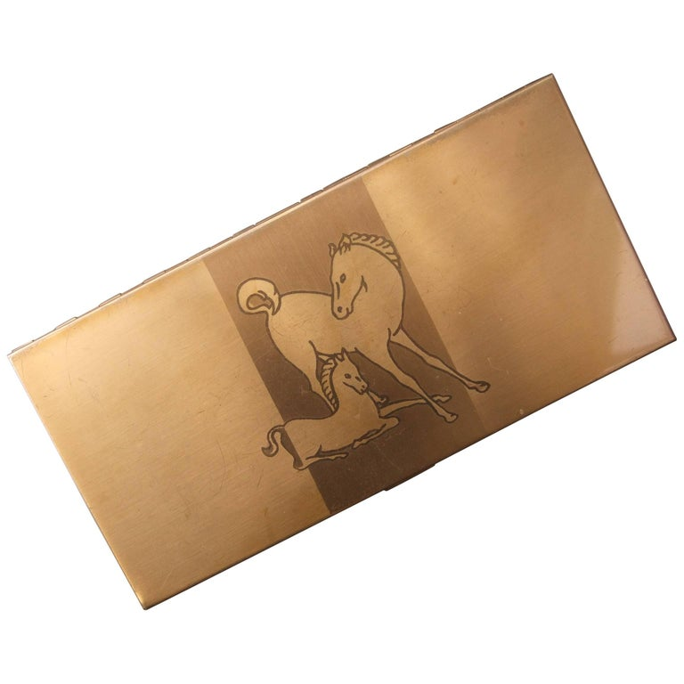 Mid Century Brass Metal Equine Cigarette Case c 1960 For Sale