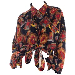 1990s Gianni Versace Rosenthal Medusa China Pattern Silk Shirt