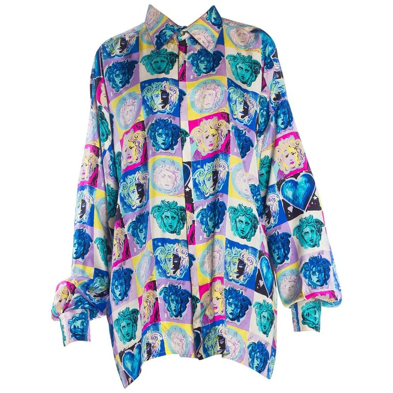 Gianni Versace Medusa and Heart Print Silk Shirt, 1990s