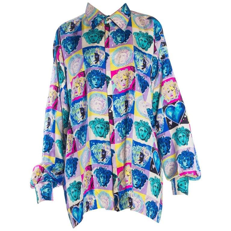 Gianni Versace Medusa and Heart Print Silk Shirt, 1990s  For Sale