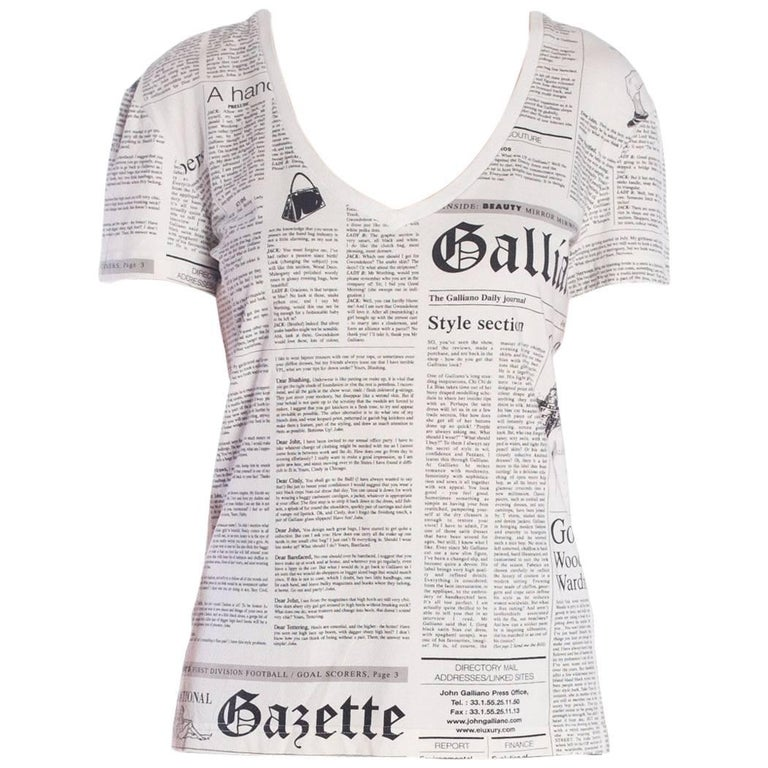 John Galliano Gazette Newspaper Print T-Shirt