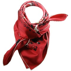Hermès Made in France Paddock Red Scarf silk 90 cm Edition 2015 / Brand New