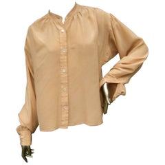 Saint Laurent Rive Gauche Peach Silk Blouse c 1970s