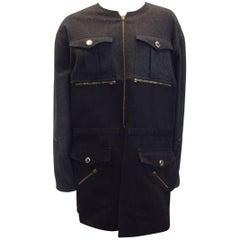 Chanel Color Block Gray/Black Wool Zip Coat