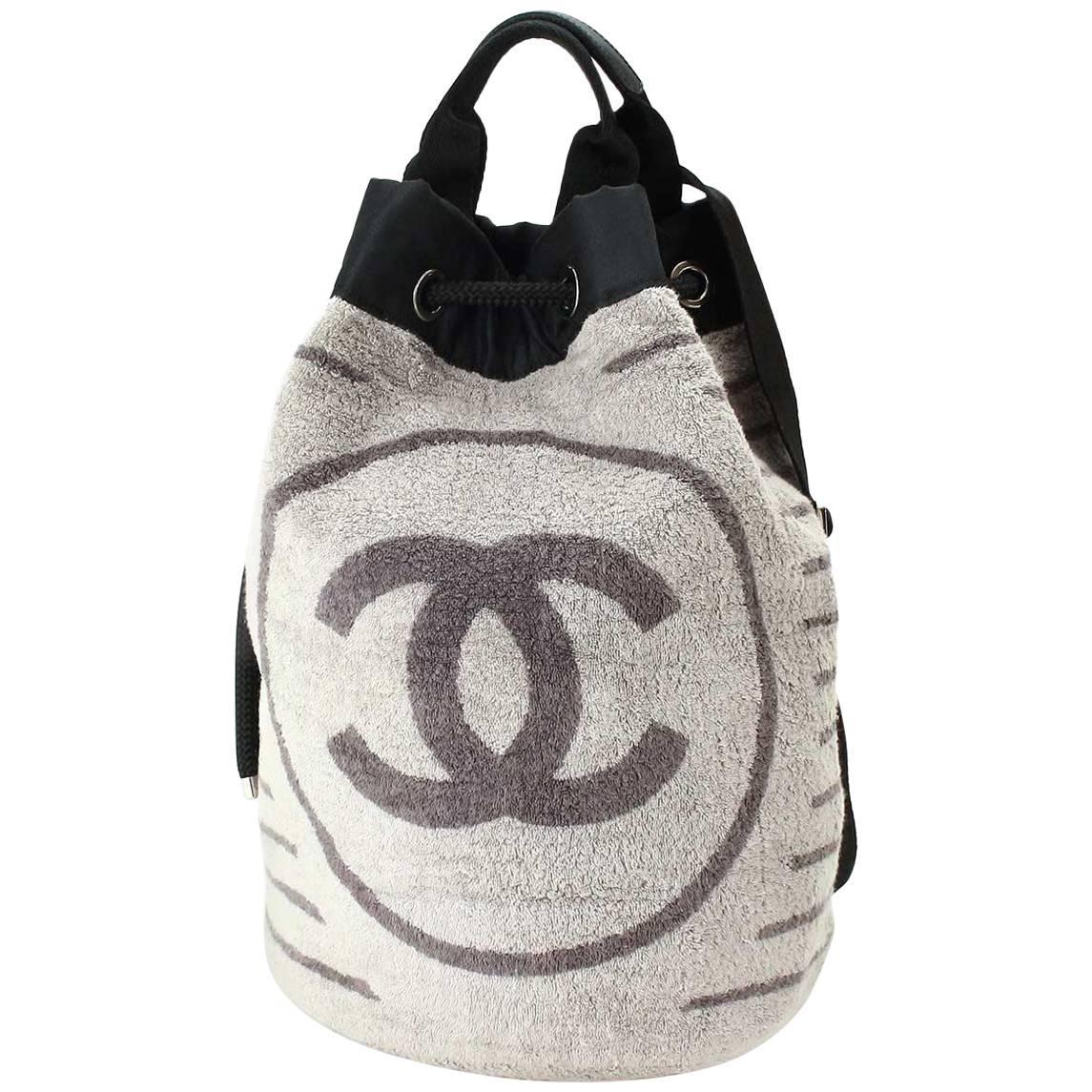 Chanel Black Gray CC Bucket Top Handle Travel Slingback Backpack Shoulder Bag