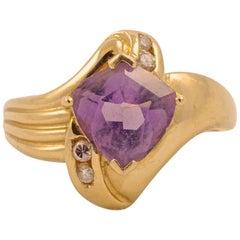 14K Gold Amethyst Diamond Dress Ring