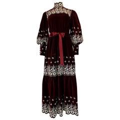 1960s Bill Tice Rich Garnet Velvet & Embroidered Floral Dress