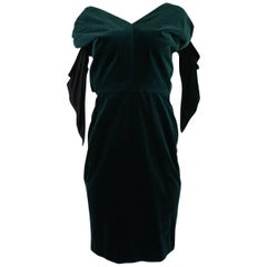 1980s Antony Price Bottle Green Velvet Dress w Removeable Bows