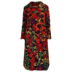 1960s Donald Brooks Fabulous Floral Print Top Stitched Coat