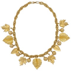 Napier 1980s Gold Plated Fancy Link Chain Leaf and Ball Necklace
