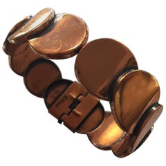 Renoir of California Mid Century Modernist Copper Hinged Bracelet