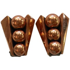 Renoir of California Mid Century Modernist Copper Machined Clip On Earrings