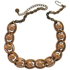 REBAJES Copper Ball Bearing Double Chain Mid Century Modernist Necklace