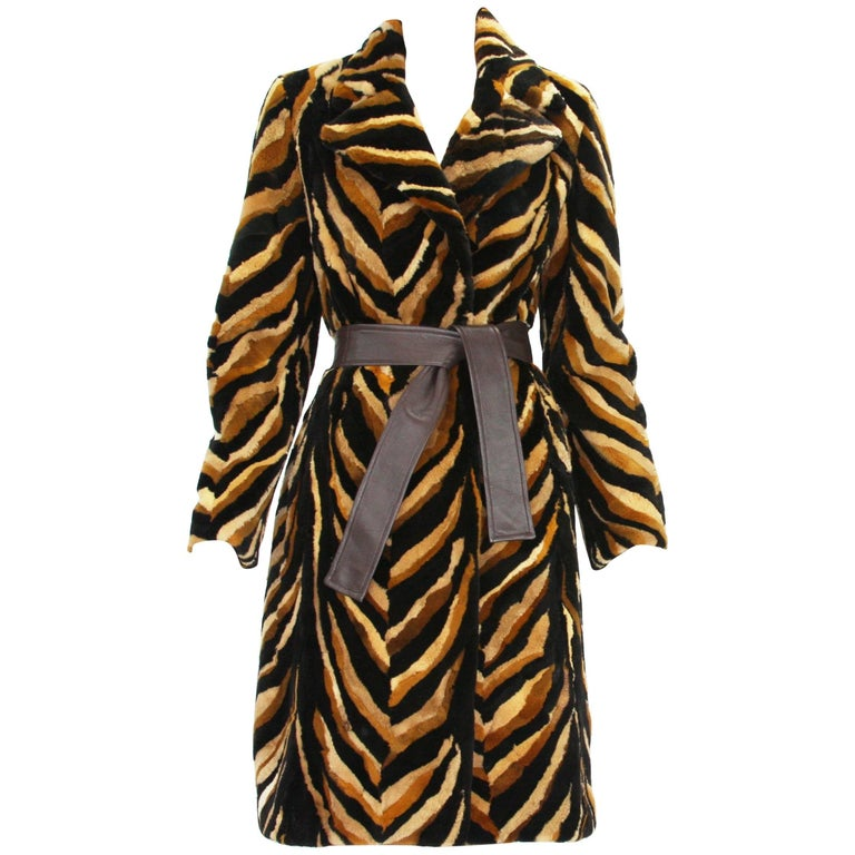 Vintage Gianni Versace Couture Mink Chevron Pattern Belted Coat It. 42 For Sale
