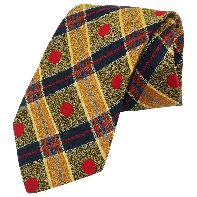 1990's Ungaro Silk Plaid Men's Necktie For Sale