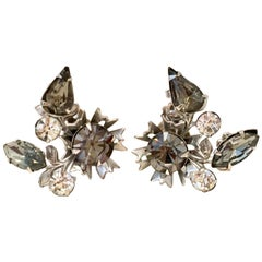 "50'S Silver & Austrian Crystral ""Black Diamond"" Earrings By, Beaujewels"