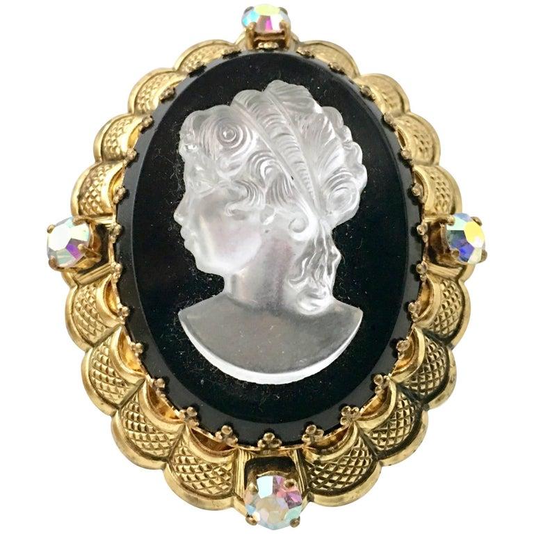 Vintage German Gold Filigree Carved Glass Cameo & Austrian Crystal Brooch For Sale