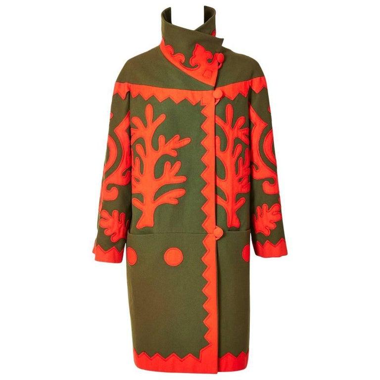 Christian Lacroix Wool Coat with Applique Details 1