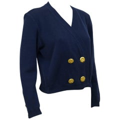 1980s YSL/Yves Saint Laurent Navy Blue Cardigan