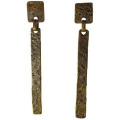 1980s Martha Sturdy Vancouver Bronze Super Long Drop Cleanlined Drop Earrings