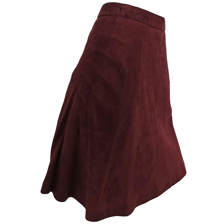 1990s Alaia Brown Vegan Suede Back Pleat Skirt