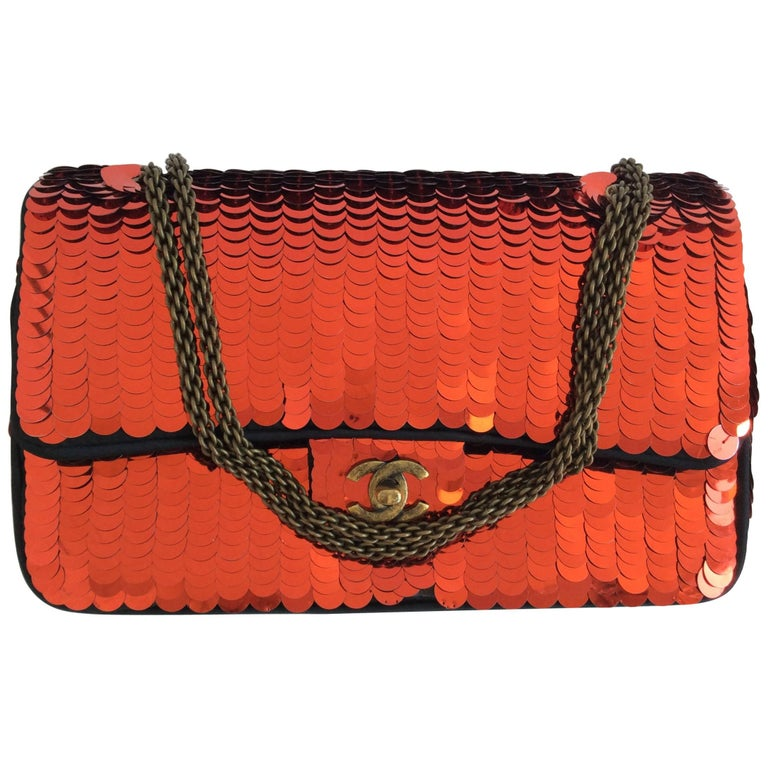 Chanel Shanghai Red Sequin Double Flap Bag Antiqued Bronze Chain For Sale