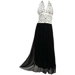 1930s Black & White Beaded Halter Evening Dress