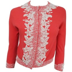 1950s Coral Beaded Cardigan Sweater
