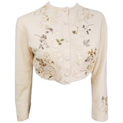 1950s Helen Bond Carruthers Embroidered Applique Cardigan Sweater