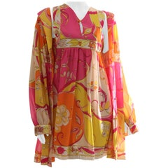 Emilio Pucci Formfit Rogers Abstract Robe & Baby Doll Nightie 2pc Set 60s 32/34