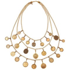 Yves Saint Laurent Multi-Strand Coin Necklace