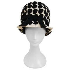 1960s Mr. John Black & White Raffia Ribbon Cloche Mod Hat