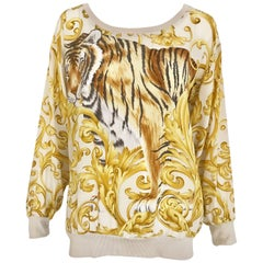 Salvatore Ferragamo Vintage Yellow and Creme Tiger Print Oversize Silk Blouse