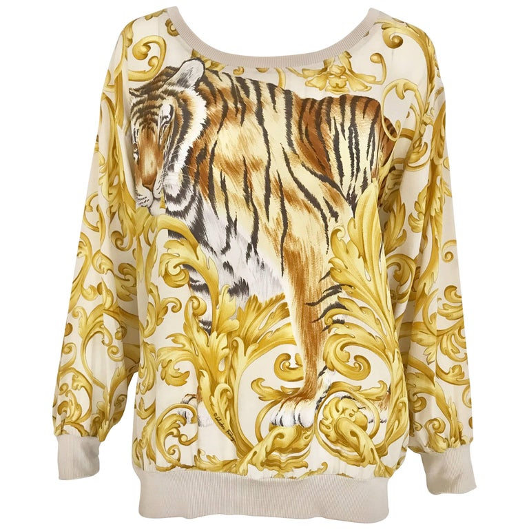 Salvatore Ferragamo Vintage Yellow and Creme Tiger Print Oversize Silk Blouse For Sale