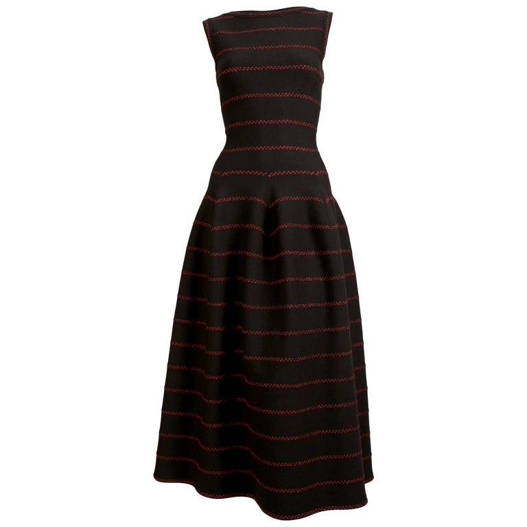 Azzedine Alaia long black knit dress with red lurex detail For Sale