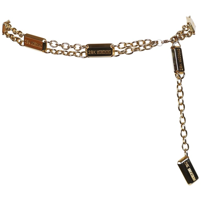 1990's MOSCHINO '28k Moschino'  gold bar Chain Belt
