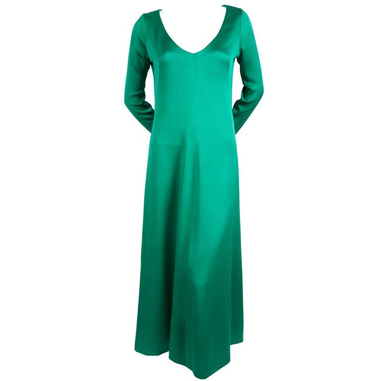 9cc2b810 1960's GIVENCHY emerald green silk A-line gown For Sale at 1stdibs
