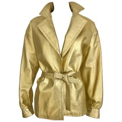 1980s Yves Saint Laurent Gold Leather jacket