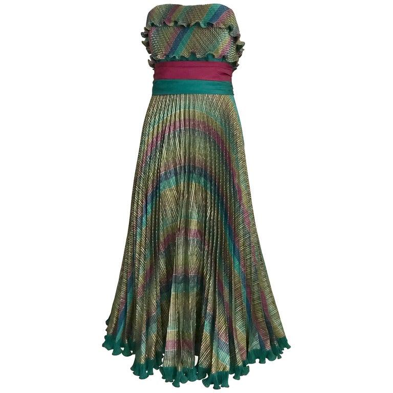 1980s Frank Usher Strapless Multi Color Metallic Print Cocktail Dress