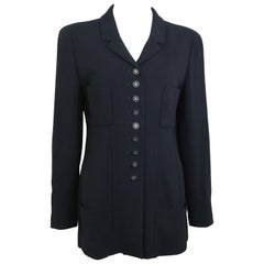 "Chanel Classic Black Wool Silver ""CC"" Buttons Jacket"