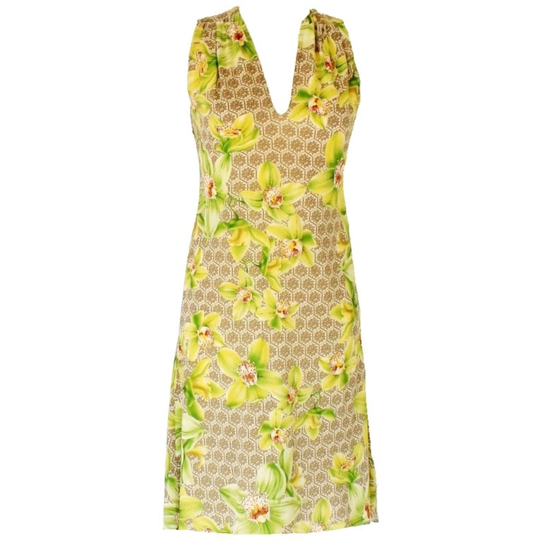 Exotic Versace Orchid Floral Print Silk Cocktail Dress
