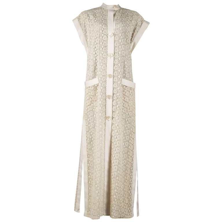 Pirovano Couture white lace and linen shirt dress, 1960s