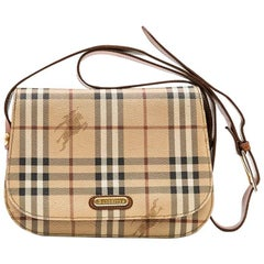 BURBERRY Messenger Bag in Brown Leather and Tartan Canvas