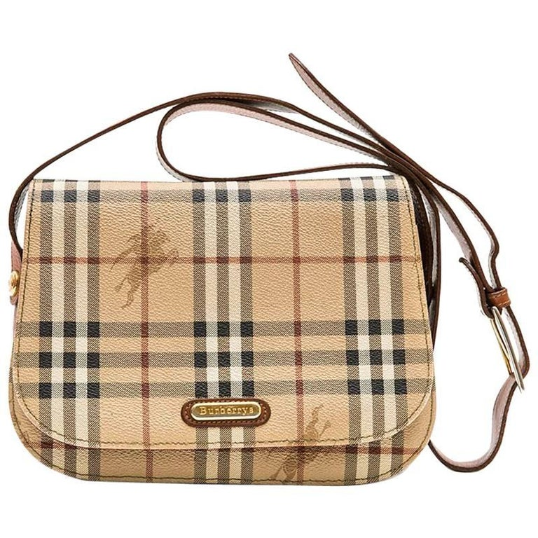 c92dfb9fb02 BURBERRY Messenger Bag in Brown Leather and Tartan Canvas at 1stdibs